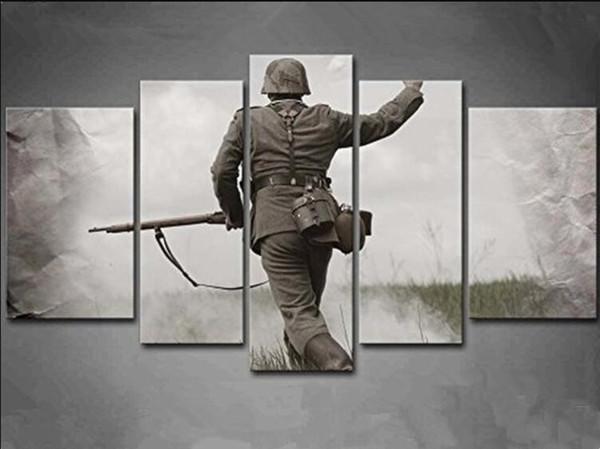 5 панель стены искусства черно-белый немецкий солдат во Второй мировой войне живопись фотографии печать на холсте люди картина для украшения дома