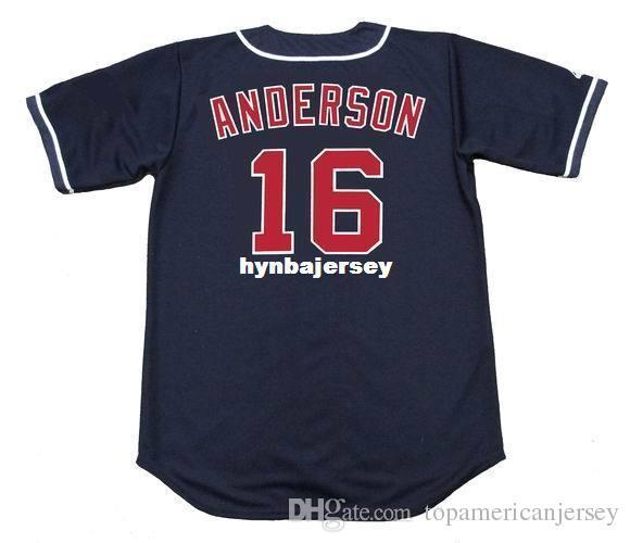 Günstige Custom # 16 GARRET ANDERSON Kalifornien genäht 1996 Majestic Vintage Baseball Jersey Retro Herren Trikots ausgeführt