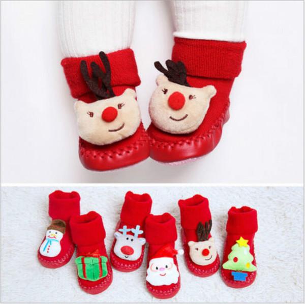 US Xmas Baby Christmas Deer Snowman Santa Claus Socks Newborn Slipper Shoe Floor