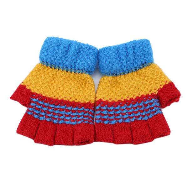 2018 Winter Warm Kids Gloves Boys and Girls Pacthwork Color Crochet Knit Gloves 2-8 Age Children Warm Soft Half-Finger