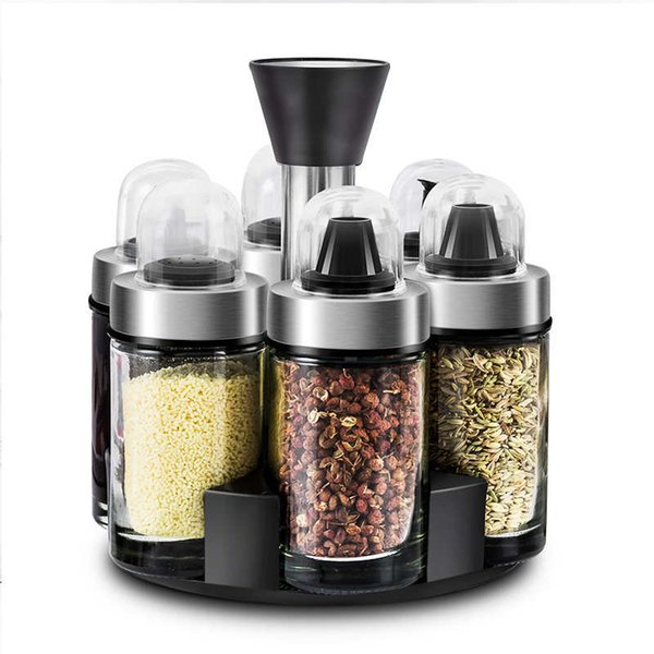 6pcs Kitchen Seasoning Organizer Rotating Salt Box Condiment Set Holder Spice Jar Storage Rack Containers Spice Rack Bottles