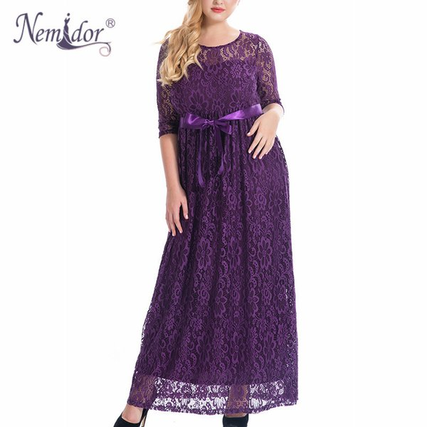 Nemidor High Quality Women Elegant O-neck Party Full Lace Dress Plus Size 7xl 8xl 9xl 3/4 Sleeve Vintage Wedding Long Maxi Dress Y19012201