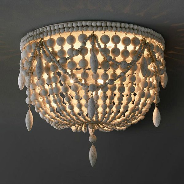 2019 Country White Wood Bead Metal Frame Ceiling Fixture 6 Light Flushmount Light E12 Bedroom Ceiling Light Decor From Jiayoujia 181 4 Dhgate Com