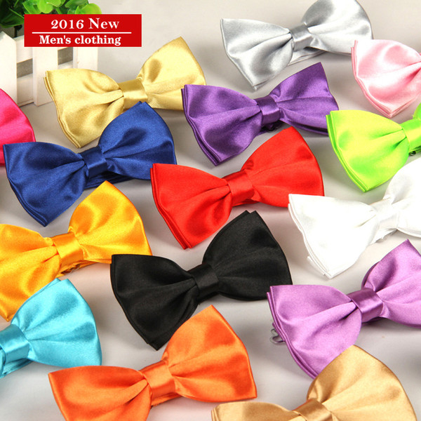 Men's Adjustable Polyester Silk Solid Groom Tuxedo Plain Bowties Neckties Man Holiday Wedding Party Kid Suit Butterfly Bow Tie