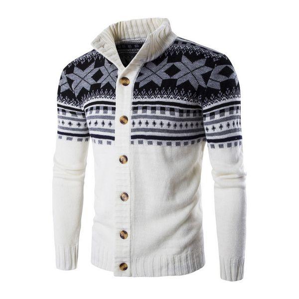 Otoño Cálido Suéter de Navidad de Los Hombres de Moda Impreso Chaqueta de Abrigo Casual Stand Collar de Punto Para Hombre Cardigan Suéteres 2018