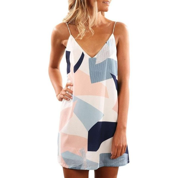 good qualtiy Women Geometric Printed Dress Fashion Double V Neck Short Strap Mini Dresses Ladies Summer Shift Dress #VE