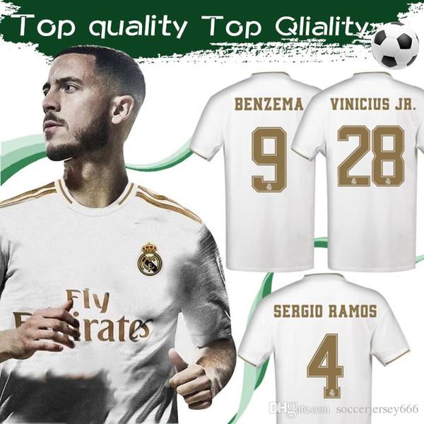 # 7 PERIGO 2020 Real Madrid Camisa de Futebol Em Casa Branco 19/20 # 9 BENZEMA # 12 MARCELO Camisa de Futebol # 11 BALE Camisas de Futebol de Tamanho S-4XL