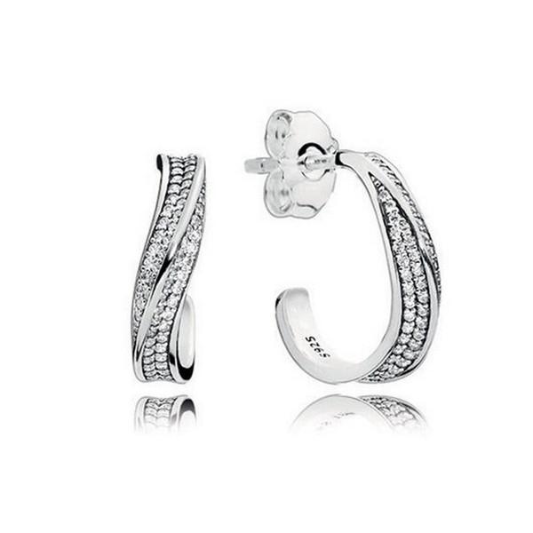 925 Sterling Silver CZ Diamond earrings Original Box for Pandora Elegant Waves Ear hook Earrings for Women Girls Gift Jewelry EARRING