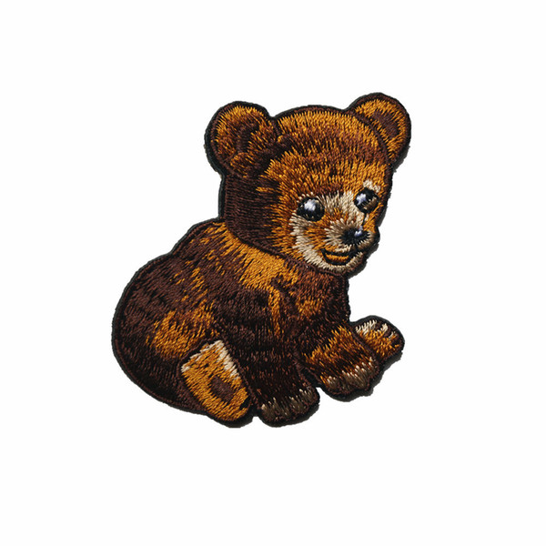 5CM Cute Brown Bear Baby Embroidered Patches Sew Iron On Badges For Dress Bag Jeans Hat T Shirt DIY Appliques Craft Decoration