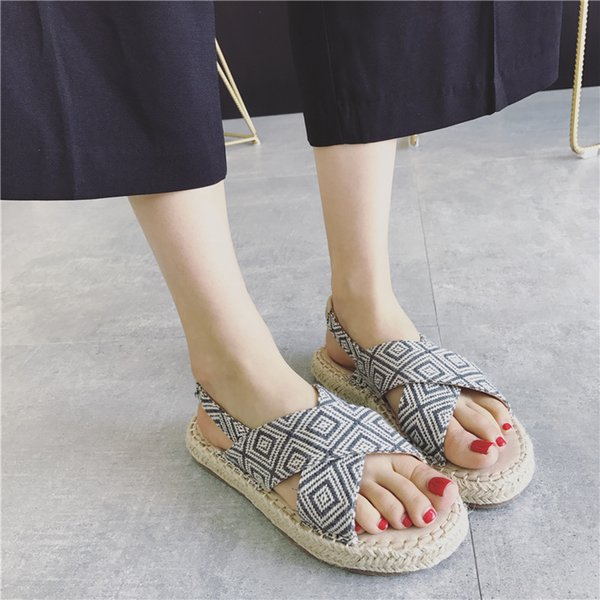 Sexy2019 Wind Rome Plover Grid Crossing Exposed Toes Book Flange One Word Bring Sandals Ox Tendon Bottom Women's Shoes 331-2