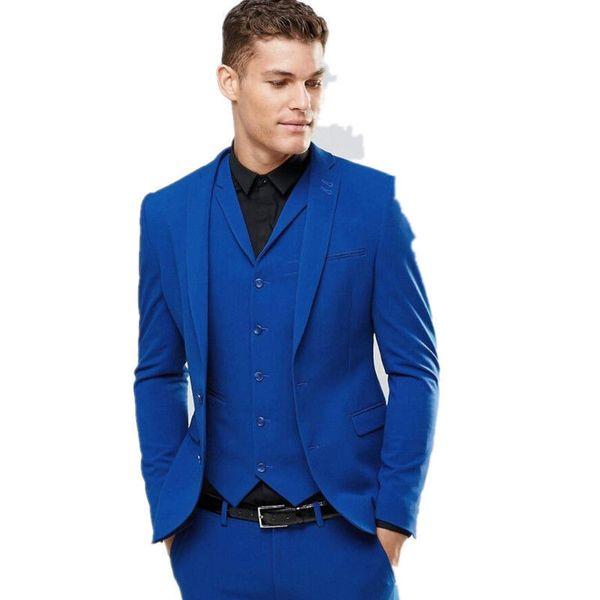Popular Royal Blue Groom Tuxedos Notch Lapel Groomsmen Mens Wedding Dress Excellent Man Jacket Blazer 3 Piece Suit(Jacket+Pants+Vest+Tie)70