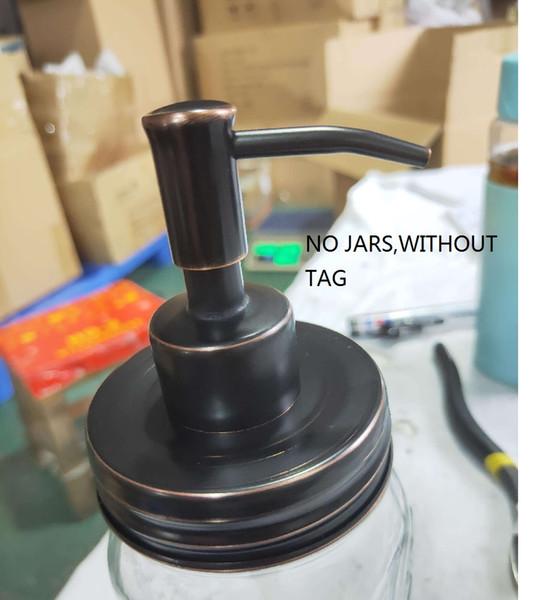 Petróleo Friccionada Bronze Mason Jar Soap Dispenser Com Bomba De Aço Inoxidável À Prova de ferrugem e Tampa r Líquido para Cozinha e Banheiro-No Frascos