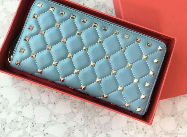 new zipper wallets name card cardholders women high fashion genuine leather material diamond lattice metallic full start rivet clutch