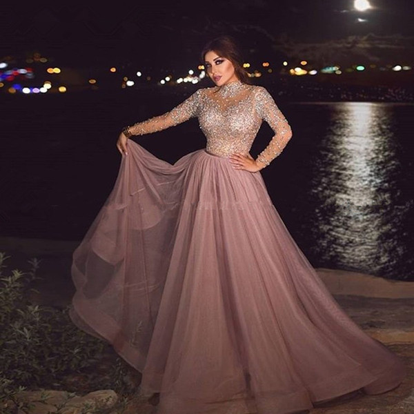High Neck Dusty Pink Muslim Evening Dress illusion Long Sleeve Crystal  beaded Plus Size Arabic Formal Dresses for Women Dubai Prom Gowns
