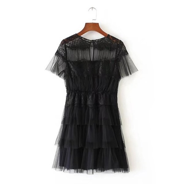 High-quality European and American Fashion Trend Fengjuan Net Short-sleeved Dress Elegant Lady Model Black S-M Size