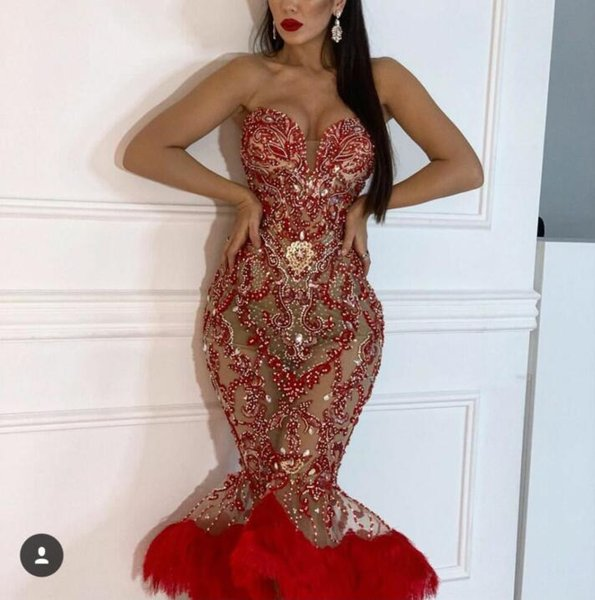 Evening dress Mermaid Sweetheart Tulle Red Sleeveless Feather Crystal Classic Customizable in any size Modern 2 Customizable james_paul