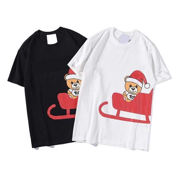Tasarımcı Erkek Kadın Marka T Gömlek Lüks Kısa Kollu Sevimli Noel Noel Baba Saf Beyaz Siyah Yaz 2019 Yeni Tasarımcı T Gömlek