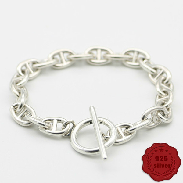 s925 sterling silver bracelet fashion personality retro gothic punk wind ten simple smooth styling jewelry 2019 new sale