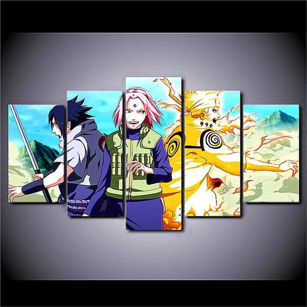Naruto Uzumaki Naruto, 5 piezas Lo último Más popular Lona de alta definición Impreso Arte decorativo para el hogar / Sin marco / Enmarcado