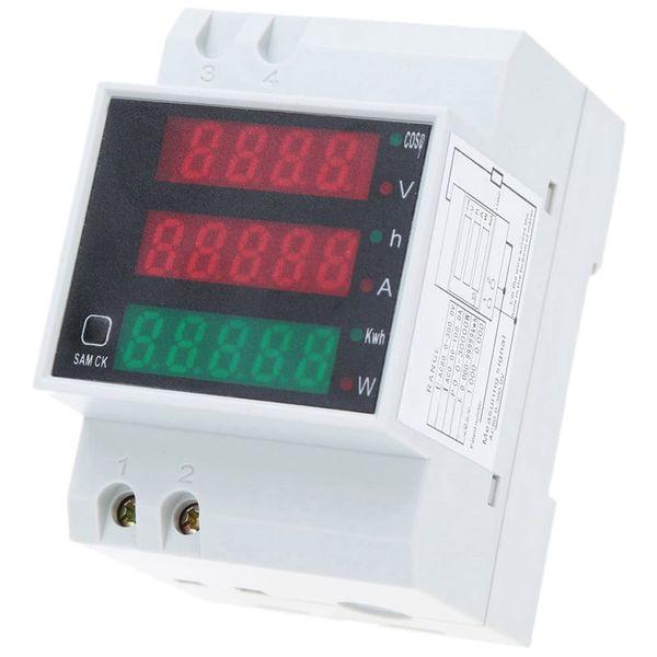 Dijital Voltmetre Ampermetre Din Ray Akım Gerilim Metre AC80-300V LED Ekran Volt Metre Güç Faktörü