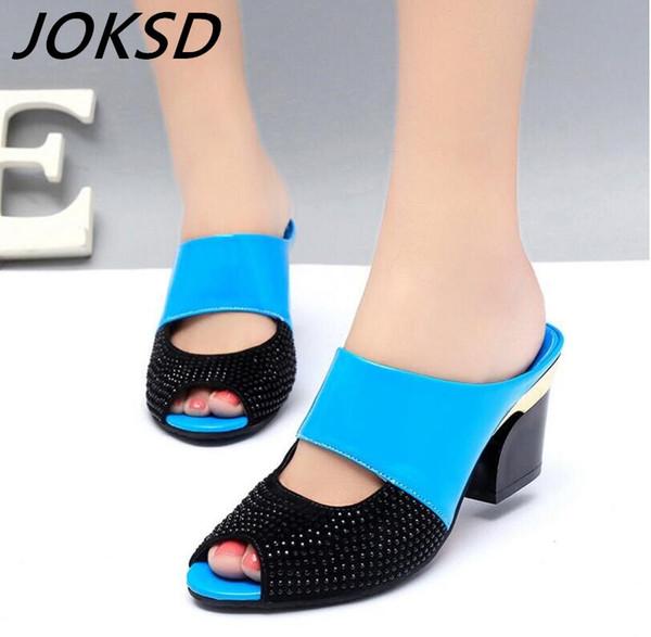 оптовые новые женские сандалии из натуральной кожи горный хрусталь толстый на высоком каблуке цвет блока украшения открытый носок Женские сандалии