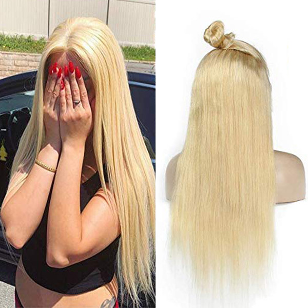 Lace Front Human Hair Wigs Silky Straight 613 Blonde Brazilian Virgin Hair 150 Density Full Lace Wigs for Black Women with Baby Hair
