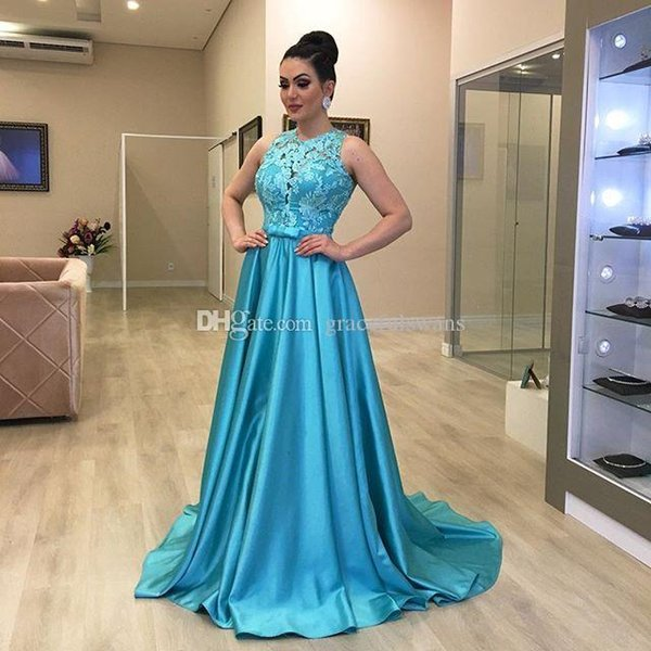 African Long Prom Dresses 2019 Sheer Blue Lace Appliques Girls Party Gowns Cheap Plus Size Formal vestidos de festa
