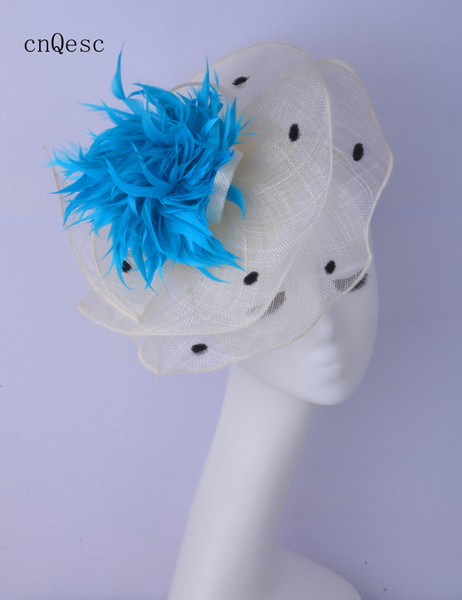 2019 Ivory black blue sinamay fascinator Headpiece Kentucky Derby wedding races bridal shower mother of the bride w/feathers.
