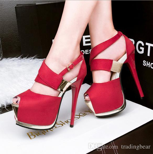 Sexy2019 Lady Shoes High Heel Platform Pumps Red Wedding Shoes Super Star Prom Gown Dress Size To