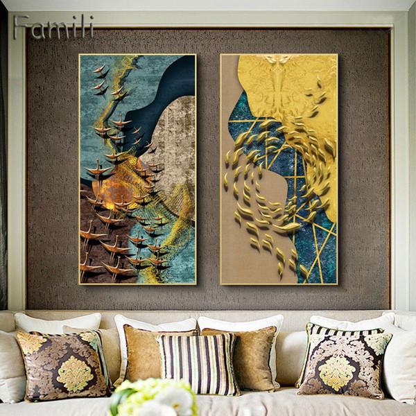 colores de pared azul para sala de estar Compre Nordic Abstract Color Spalsh Azul Dorado Lienzo Pintura Cartel E Impresin Decoracin Nica Arte De La Pared Fotos Para Sala De Estar