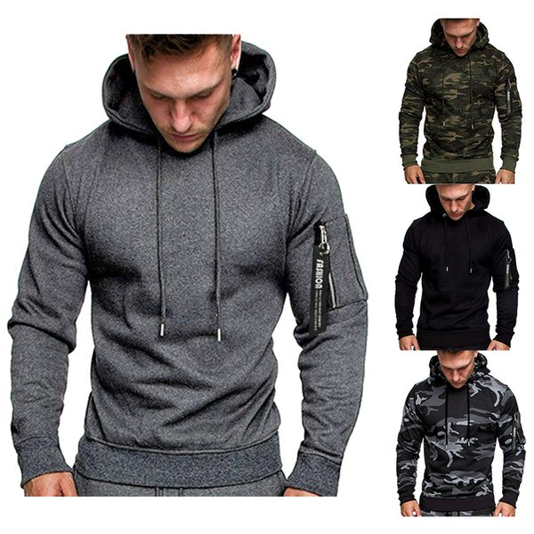 2019 new autumn and winter men's fashion casual long sleeve pullover men's hoodie, Black