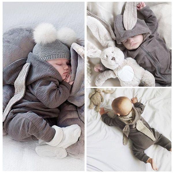 2016 Yenidoğan Bebek Bebek Kız Erkek Giyim Sevimli 3D Bunny Kulak Romper Tulum tulum Sonbahar Kış Sıcak Bebes Rompers Bir