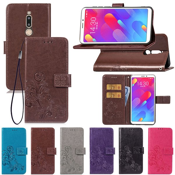 For Meizu M8 Lite Case PU Leather Cover Lucky Four Clover with Wallet Card Slot Hand Strap