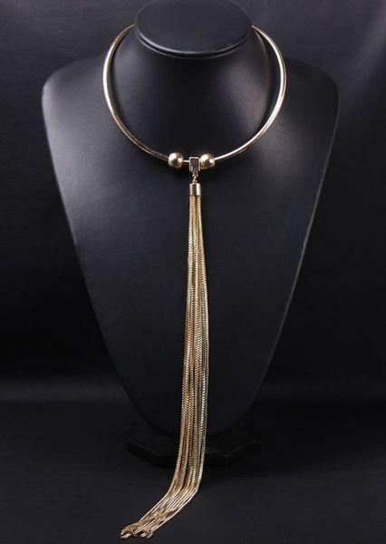 Colar de moda de ouro longo colar de borla colar clavícula exagero feminino acessórios atacado 072905