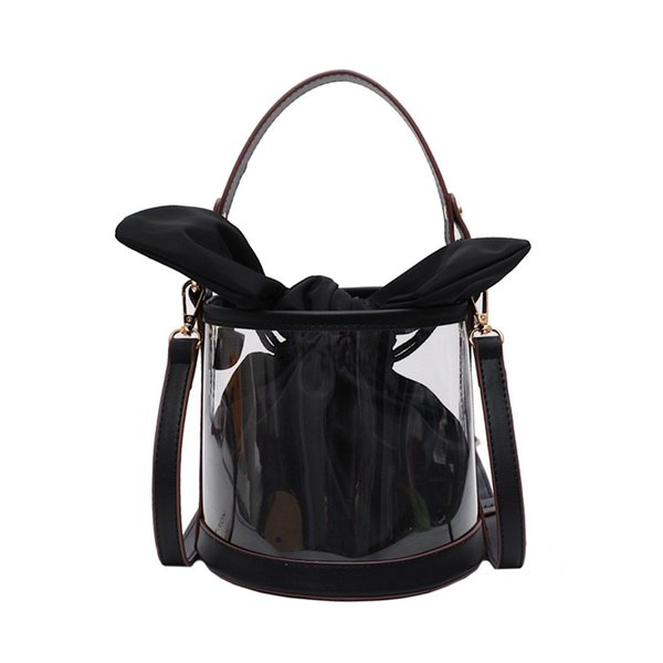 Women Bag Summer New Transparent Composite Bag Solid Color Chains Shoulder Bags Bow Cute Wild Beach Bags Purse Sac A Main