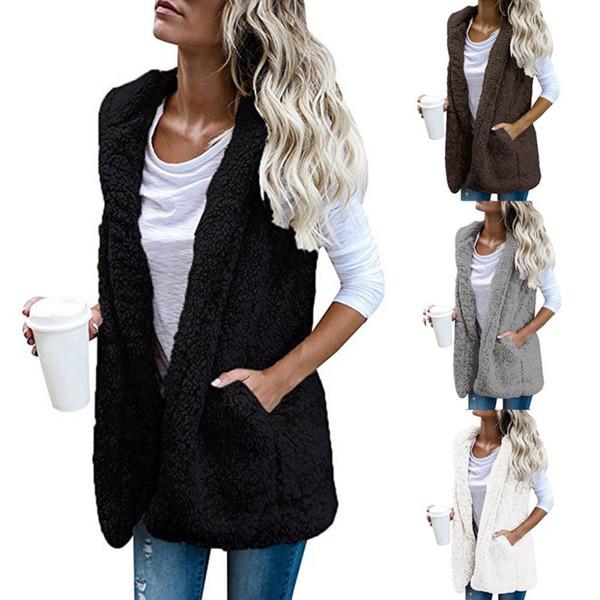 Womens Warm Vests Open Stitch Fleece Jackets Winter Hooded Waistcoats Ladies Casual Sleeveless Faux Fur Coats Outwears D2