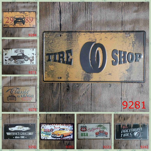"LOSICOE Vintage License Plate ""TIRE SHOP"" Wall Art Craft Metal Painting Vintage Iron for Bar Home Decor 15X30 CM"