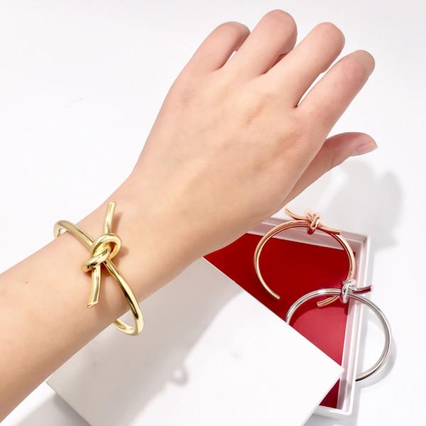 Mode vintage gold metall grob linear knot armband armreifen für frauen einfache twist manschette öffnen liebe armreifen für indischen schmuck kostüm