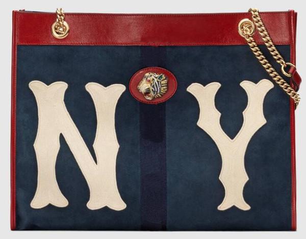 5A 537219 45 cm Rajah Grande Tote com Patch De NY, Camurça com Azul / Vermelho Web, Guarnição de couro, Com Saco de Pó Número de Série, frete Grátis