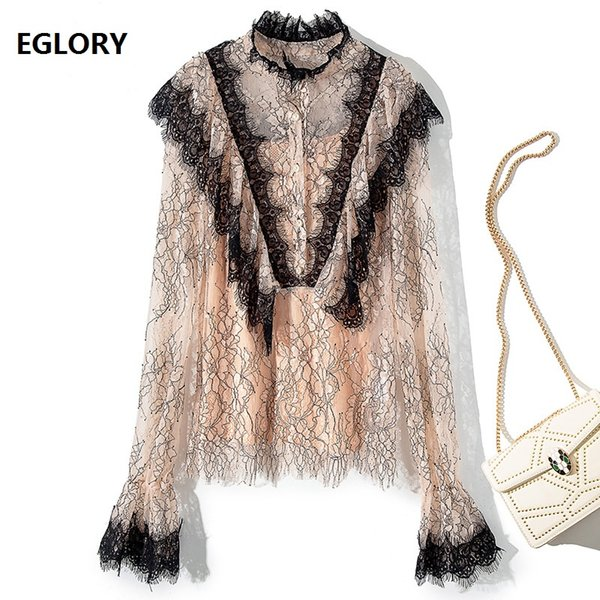 High Quality Lace Blouse 2019 Spring Summer Lace Shirt Women Ruffled Collar Black Color Block Flare Sleeve Sexy Tops