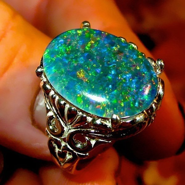 Bohemian Vintage Oval Crystal Ring Female Prong Setting Big Stone Rings For Women Girls Boho Jewelry Size 6-10