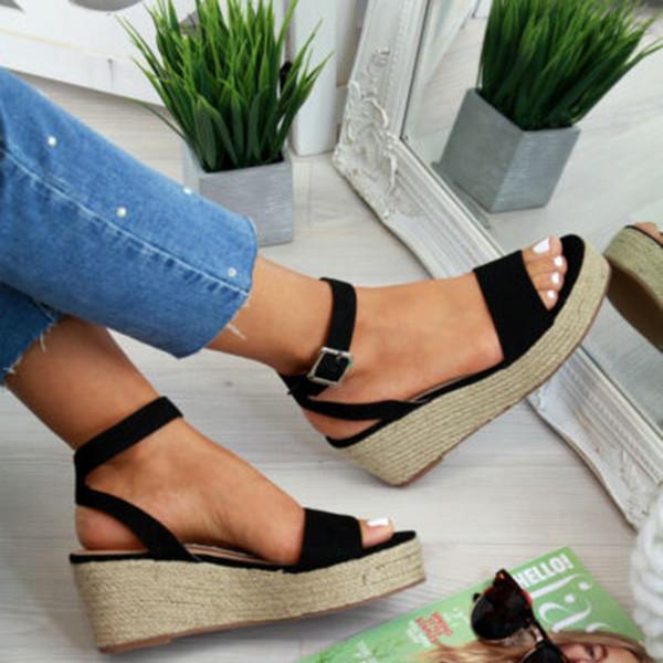 Sıcak Satış-Laamei Yaz Platformu Sandalet 2019 Moda Kadın Düz Sandal Dilimleri Ayakkabı Casual Kadın Peep Toe Bayanlar Platformu Sandalet GMX190705