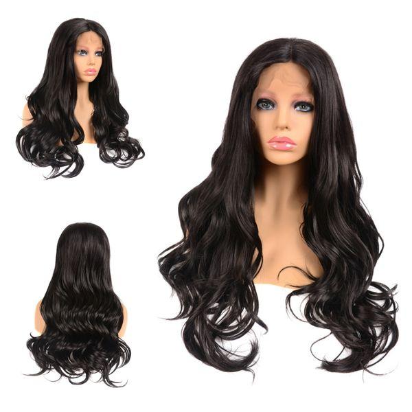 frontal del cordón del pelo sintético pelucas grande de la onda 18 '' - 22 '' 1B # negro natural Centro de despedida 1 lote pieza del frente del cordón pelucas