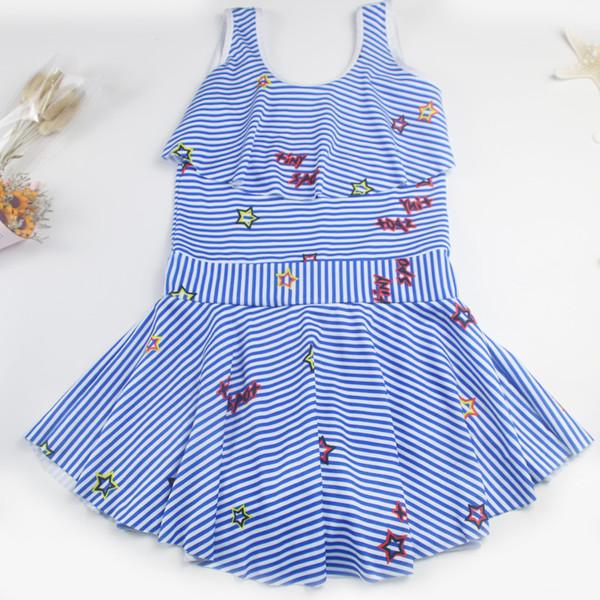 l'ultimo a9ef8 7901c Acquista 2019 Nuovi Costumi Da Bagno Bambini Grandi Bambini Spiaggia Casual  Strisce Verticali Floreale Piccolo Fresco Costume Intero Ragazze A $13.07  ...