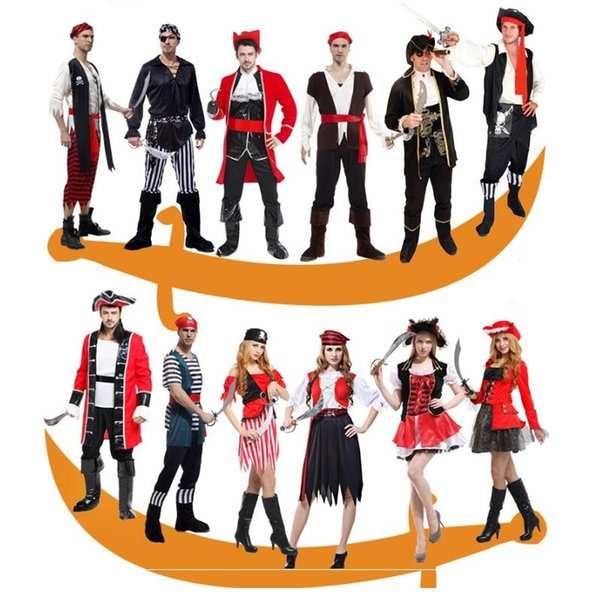 Masquerade Parti Pirate Halloween Carnaval Costume Party capitaine adulte Fantaisie cosplay Vêtements pour femmes Robe Pirate hommes amant