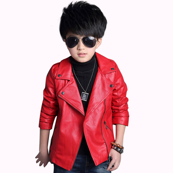 Mantel für jungen pu-leder jungen jacke feste kinder oberbekleidung mode kinder jacke frühling kostüme für jungen 4 8 12 14 jahre