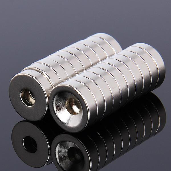 20pcs Imán de Neodimio con agujero 15mm x 4mm