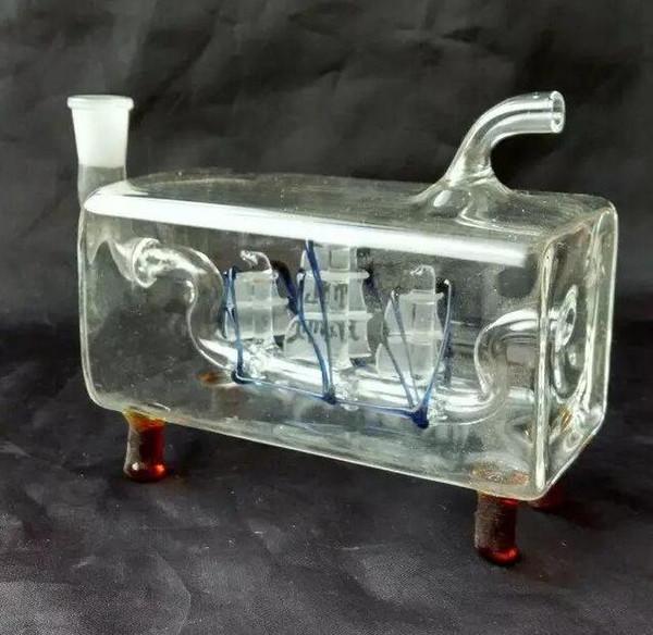 Navegación tubo cruzado hookah Comercio al por mayor bongs de vidrio Quemador de aceite Pipas de agua de vidrio Plataformas petroleras sin fumar
