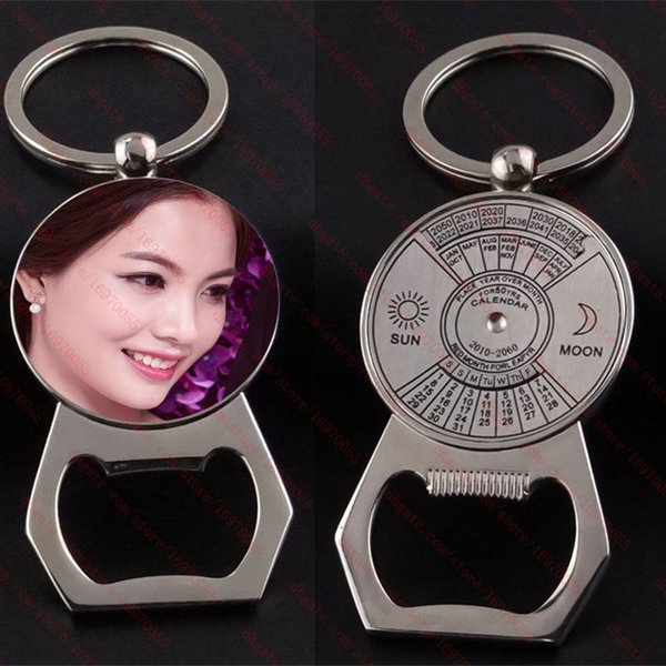 new arrival sublimation blank perpetual calendar metal keychain bottle opener key ring hot transfer printing diy consumables