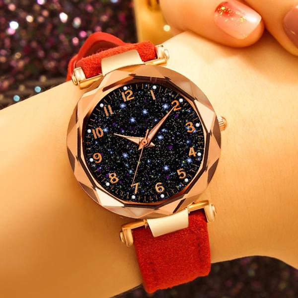 Fashion Women Bracelet Watch Leather Band Starry Sky Watches Quartz Wristwatch Numeral Star Clock Reloj Mujer